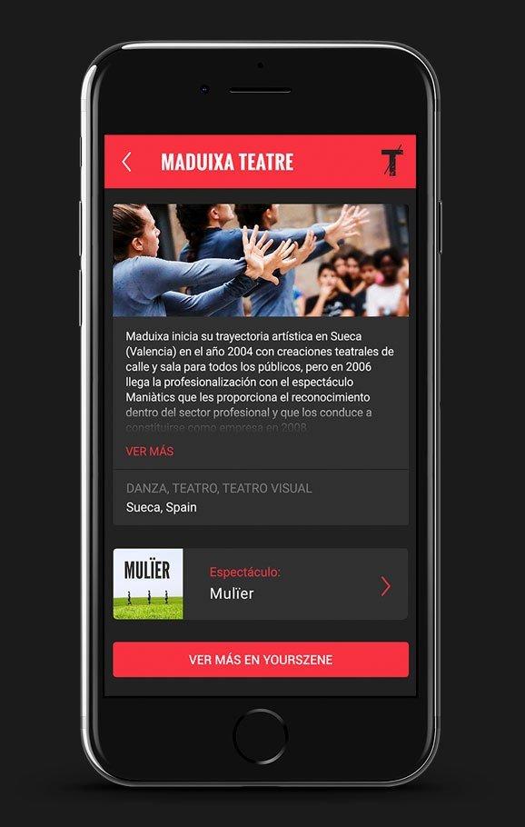 Una aplicación con la ficha de cada compañía de teatro, espectáculos, sinopsis, galerías de fotos, video y mucho más.